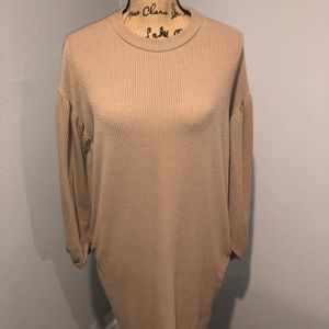 Tan Puffy Sleeved Dress (W/ Pockets)